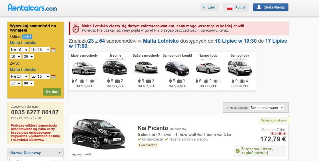 Wynajem samochodu na Malcie