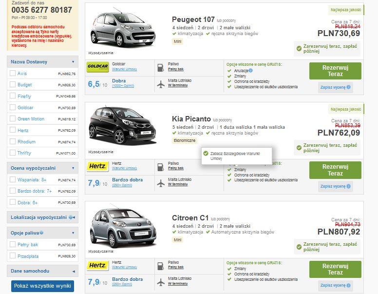 Wypożyczalnia samochodów Malta