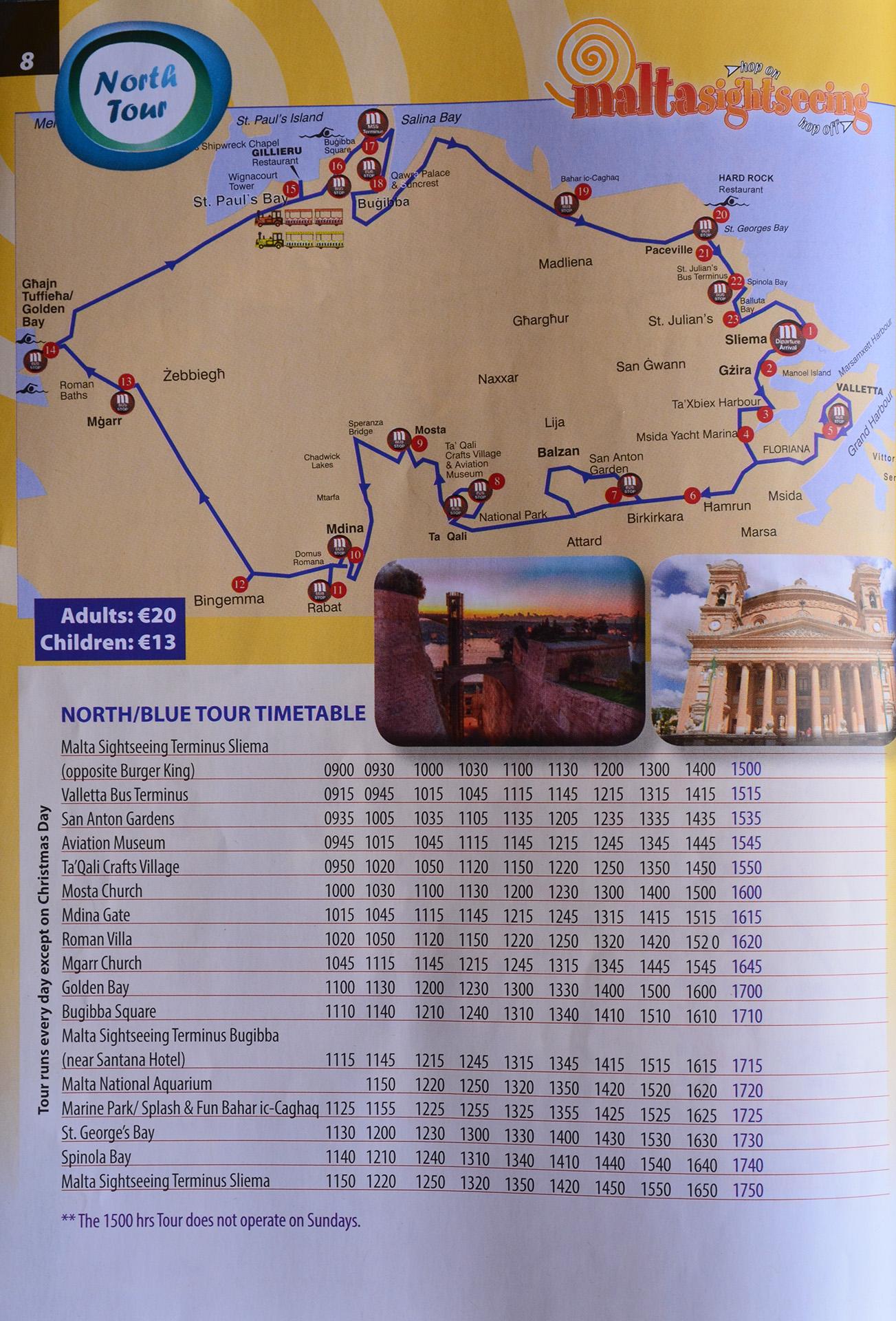 autobus malta sightseeing north tour niebieski